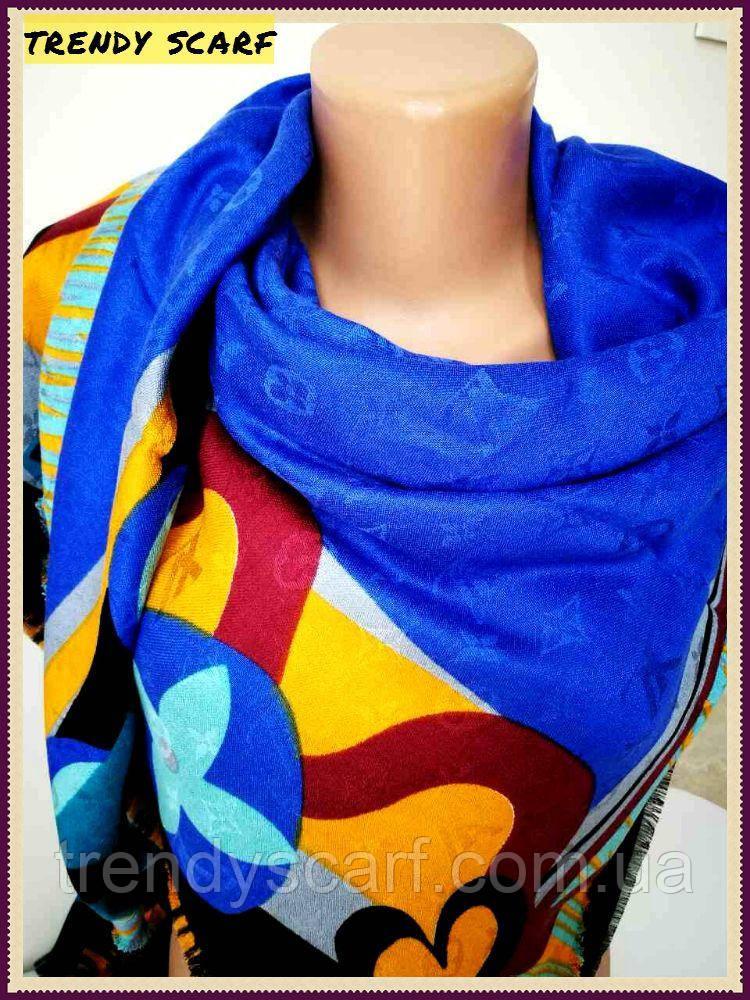 Женский Платок Louis Vuitton Луи Виттон желтый синий черный цветной  monogram реплика шерсть шелк 140  b1c91356660