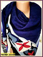 Женский Платок Louis Vuitton Луи Виттон синий белый красный цветной monogram реплика 140/150