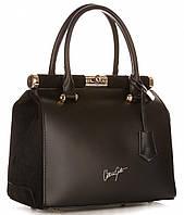 Черная элегантная женская сумка VITTORIA GOTTI из натуральной кожи, Италия, вставки из натуральной замши