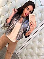 Молодежная куртка из серебристой эко-кожи