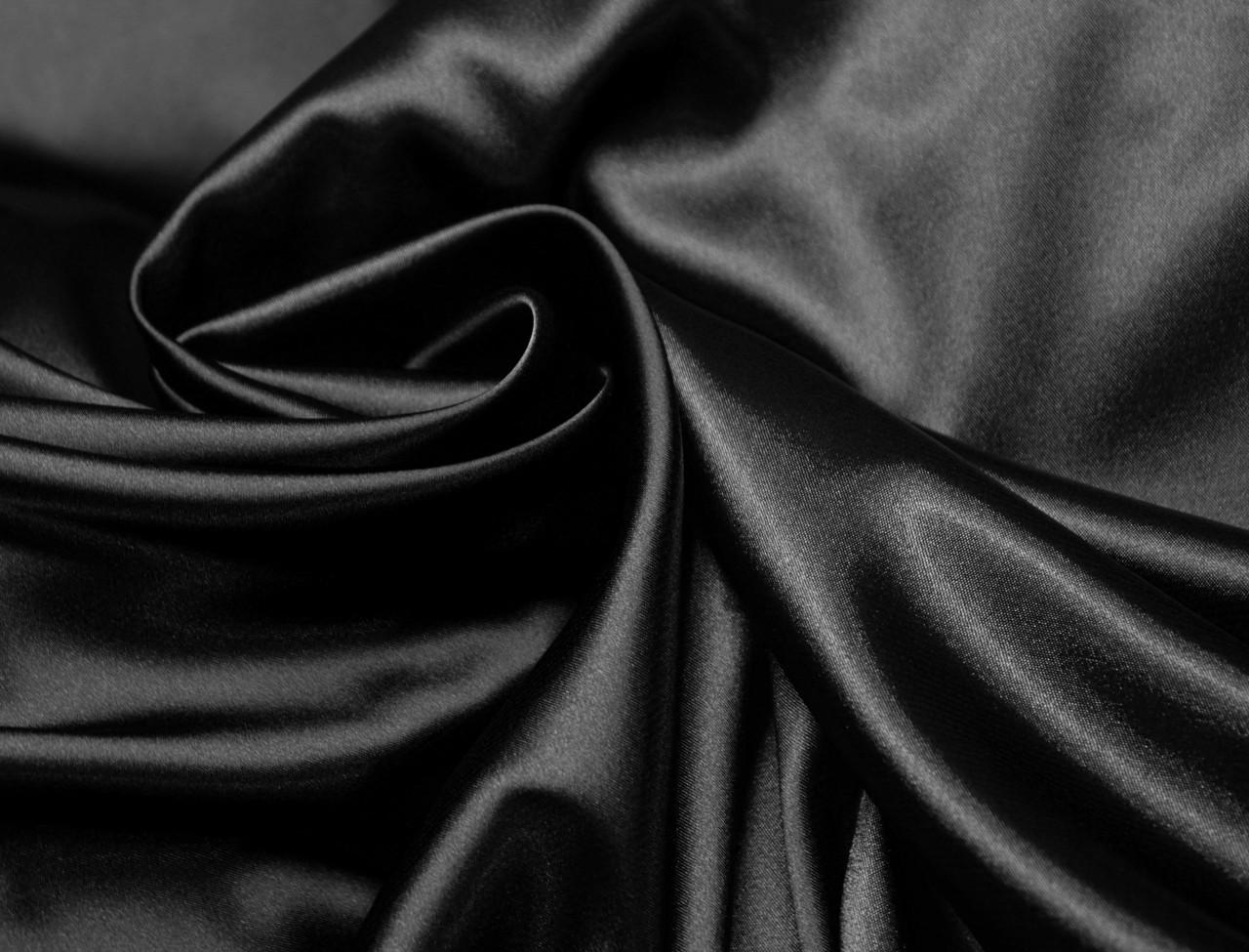 Ткань атлас стрейчевый тонкий черный