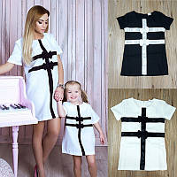 Платье с бантиками для мамы и дочки