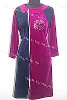 Женский велюровый халат на замке бордовый