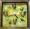 """Картина с часами: Петухи и курочки"""""""