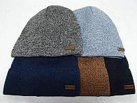 Вязаная мужская шапка с отворотом на флисе.
