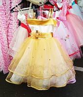 d8a08076d1c Детское пышное платье на выпускной золотисто белого цвета Д-101365