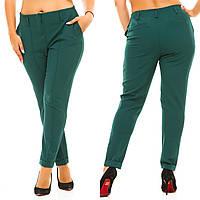 Женские прямые однотонные брюки (батал)