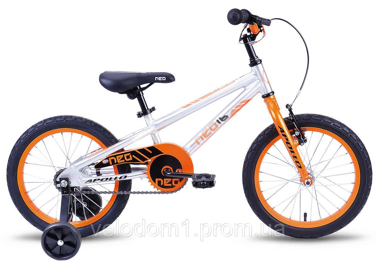 """Велосипед Apollo NEO Boys серо-орнж 16"""" 2019"""