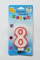 """Свеча цифра тортовая """"8"""" (восемь) блестящая с красной окантовкой Number Candles"""