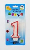 """Свеча цифра тортовая """"1"""" (один) блестящая с красной окантовкой Number Candles"""