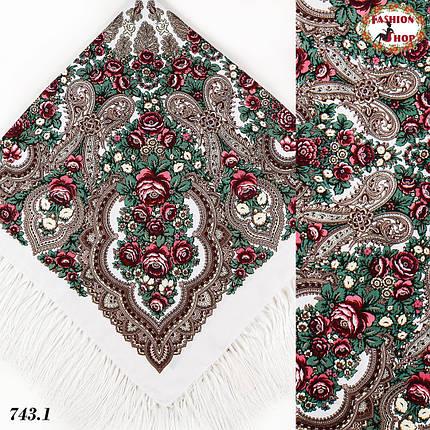 Белый павлопосадский платок Чудесные сны, фото 2