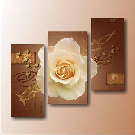 """Модульная картина """"Роза с золотыми бабочками"""""""