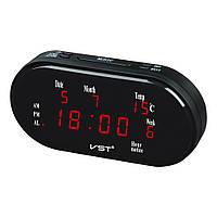 Часы электронные сетевые VST-801WX-1, настольные, красная подсветка, будильник, термометр, календарь