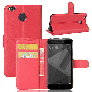 Чехол книжка для Xiaomi Redmi 4X боковой с отсеком для визиток, Красный