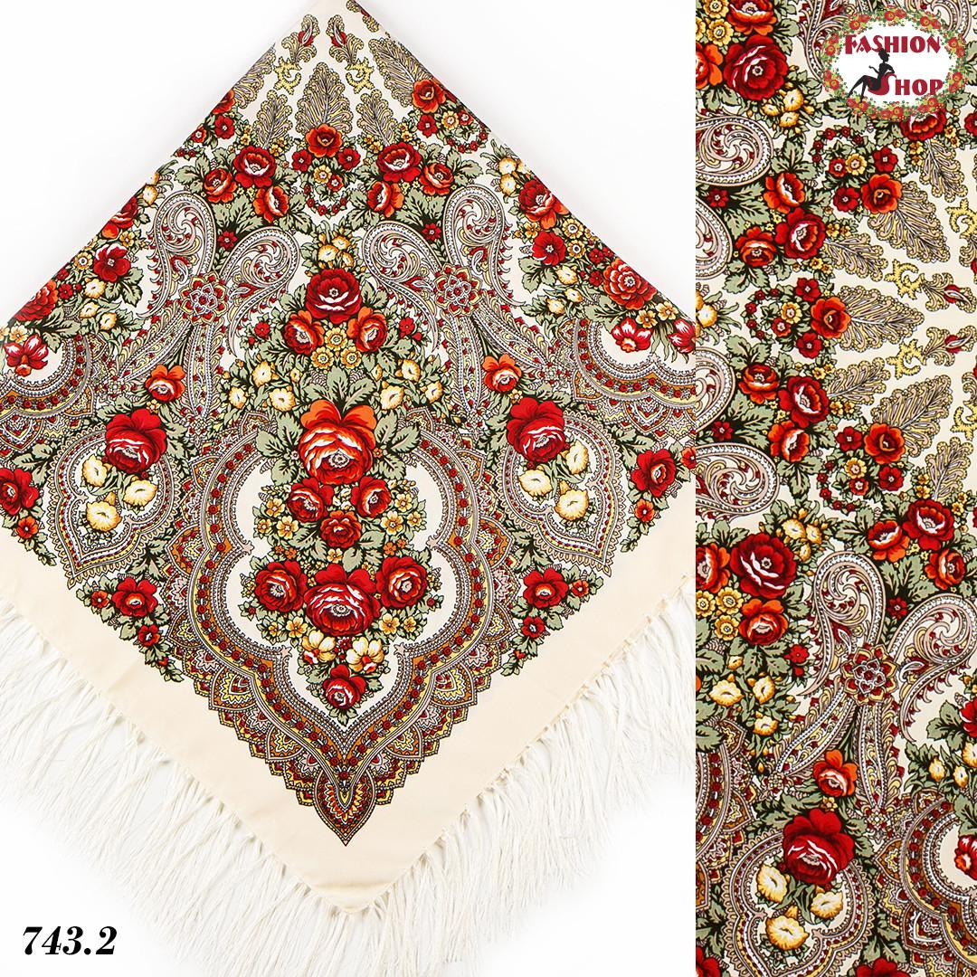 Кремовый павлопосадский платок Чудесные сны