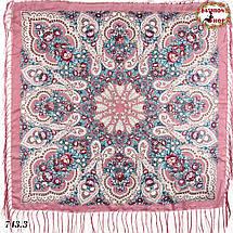 Розовый павлопосадский платок Чудесные сны, фото 2