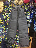 Детский зимний полукомбинезон-штаны, 4 размера, темно-синий