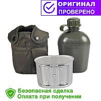 Армійська фляга з підсклянником USA Mil-tec в чохлі (0.8 L) Olive (14506001)