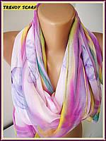 Женский Шифоновый шарф цветы розовый сиреневый желтый бирюза 150/50