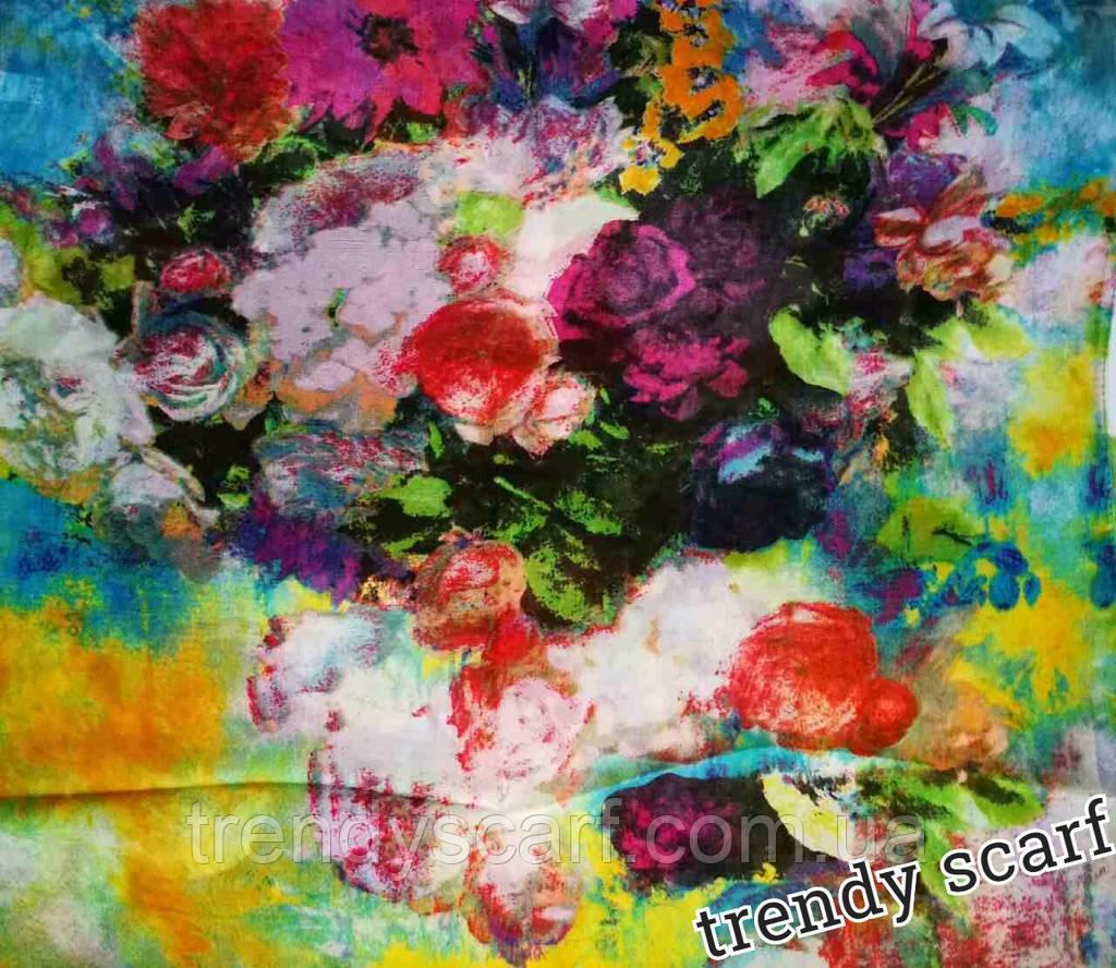 Женский Шифоновый цветной шарф цветы розовый красный желтый голубой 150/50