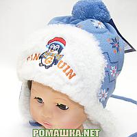 Детская зимняя вязаная шапочка р. 46-48 на овчине с завязками 3864 Голубой 46