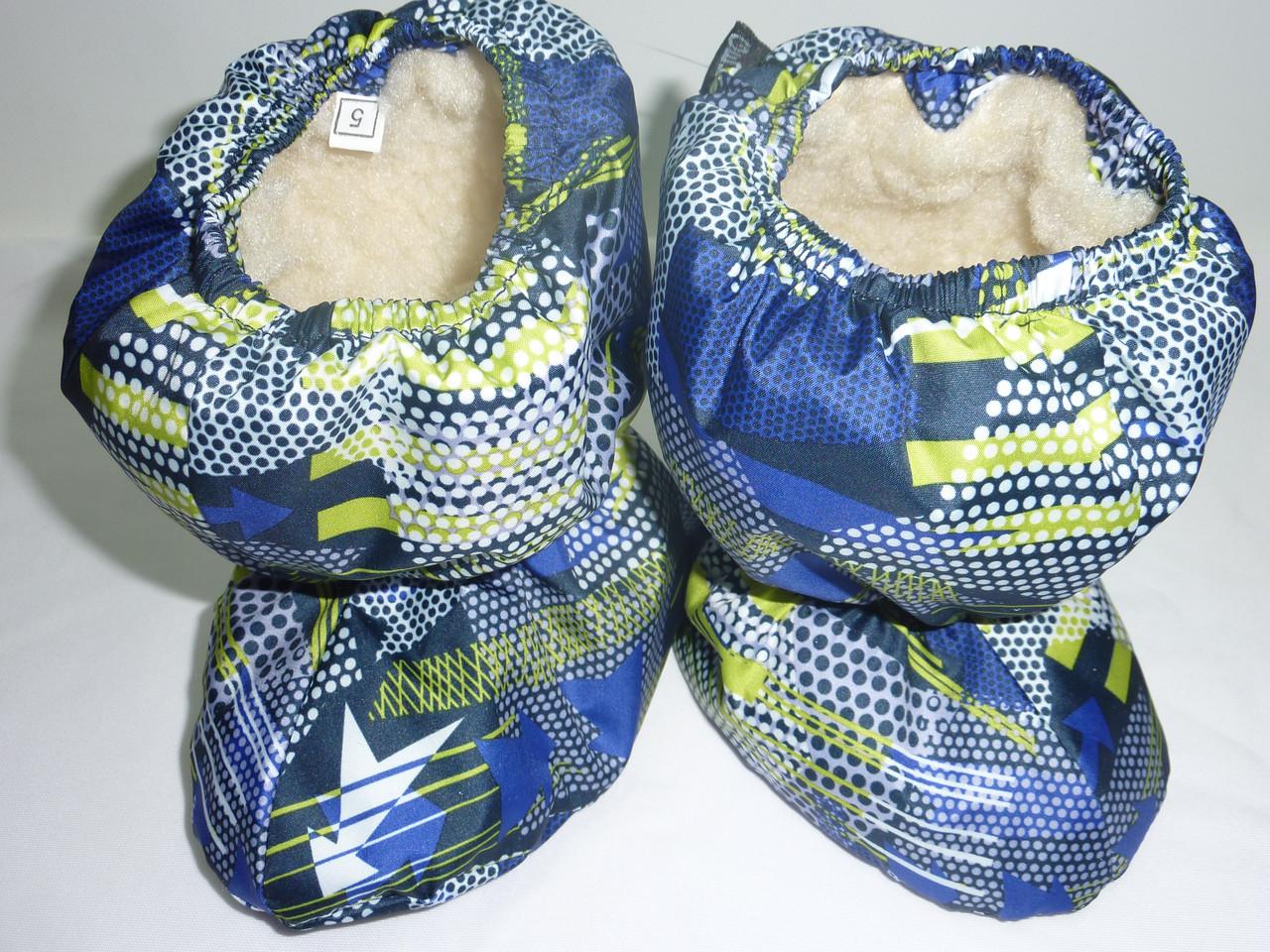Меховые сапожки для малышей синие стрела