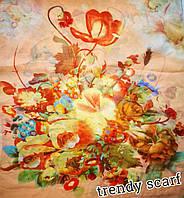 Женский Шифоновый цветной шарф цветы желтый красный оранжевый голубойзеленый 150/50