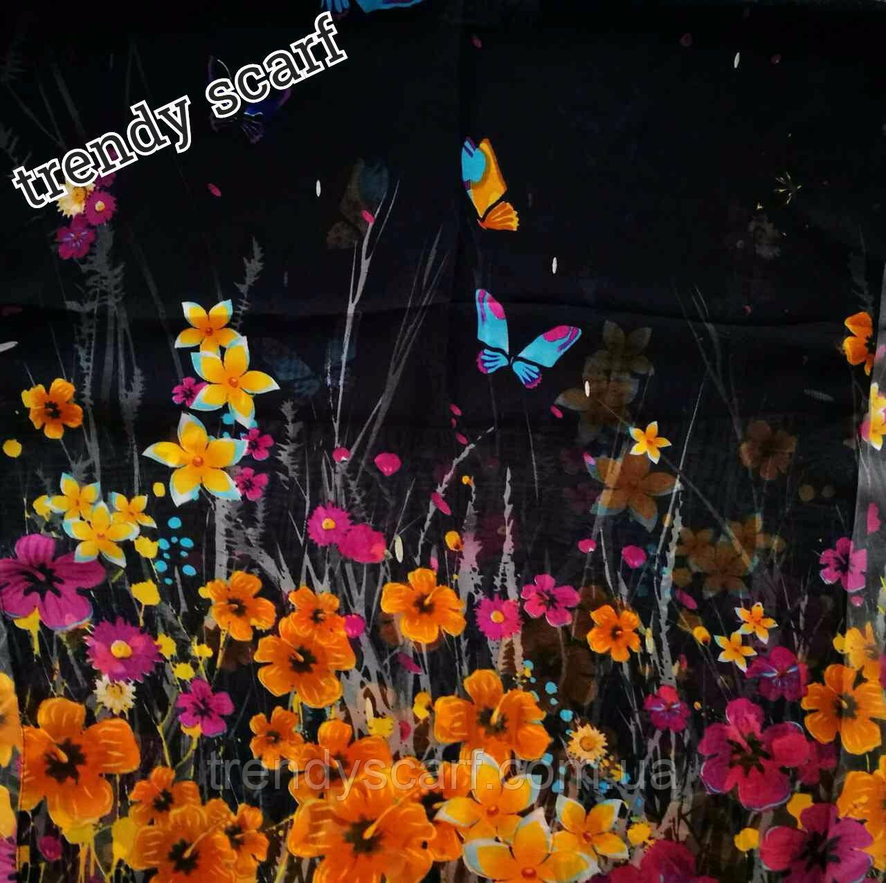 Женский Шифоновый черный шарф цветы бабочки желтый оранжевый сиреневый голубой 150/50