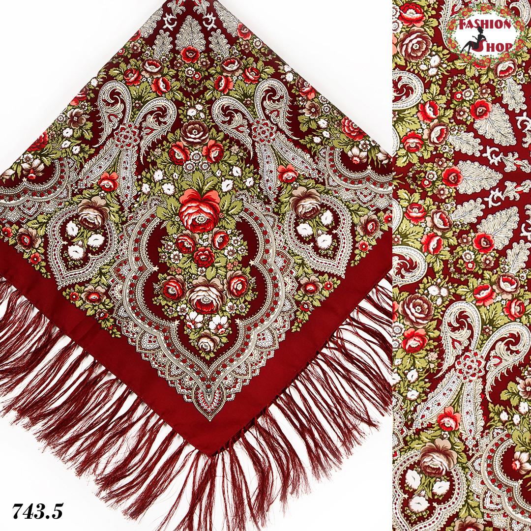 Бордовый павлопосадский платок Чудесные сны 1