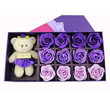 Мыло в форме бутона розы набор с мишкой