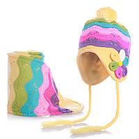 Шапочка детская теплая и шарфик для девочки