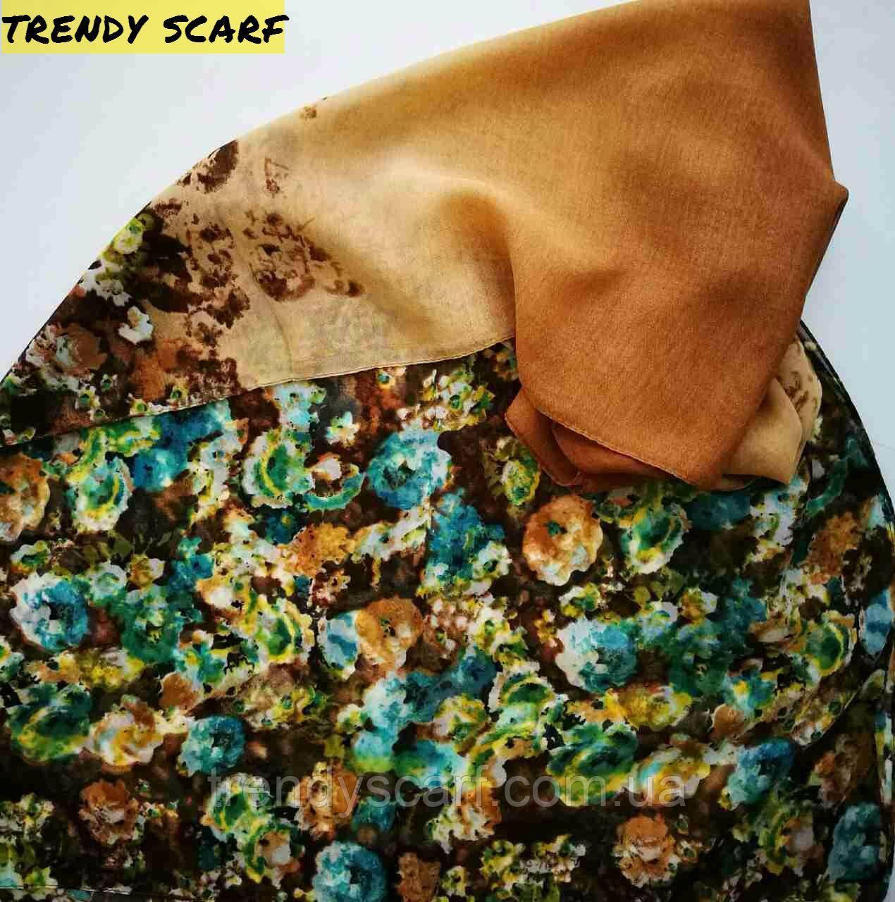 Женский Шифоновый цветной шарф цветы бежевый коричневый голубой зеленый желтый 150/50