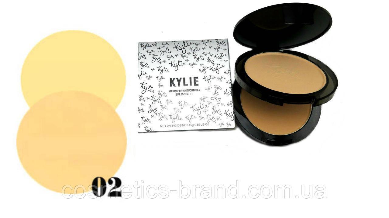 Пудра подвійна Kylie Marine-Bright Formula (срібло) №02 (репліка)