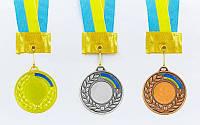 Заготовка медали спортивной с лентой UKRAINE d-5см с укр. символикой (металл,25g)