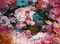 Женский Шифоновый цветной шарф цветы бежевый белый розовый голубой желтый сиреневый 150/50
