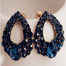 Серьги синие с камнями