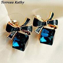 Серьги синие с камнем