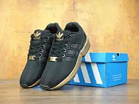 """Кроссовки женские  Adidas ZX Flux Black/Gold """"Черные с золотом"""""""