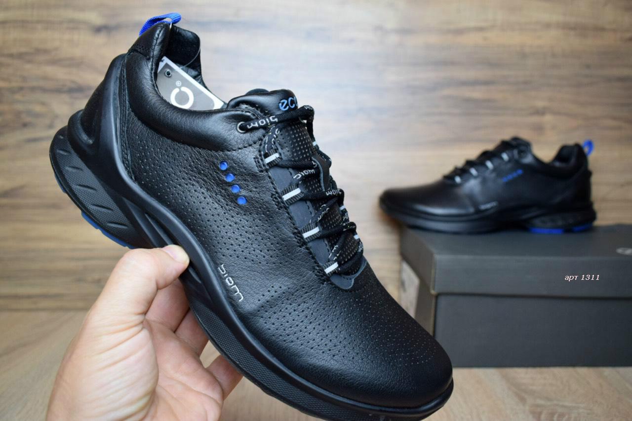 Мужские туфли+кроссовки ECCO BIOM кожаные черные с синим реплика+живые фото 0fae07bbaa93d