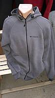 Батник мужской  спортивный с капюшоном серого цвета