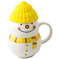 """Чашка с силиконовой крышкой """"Снеговик"""" (желтый)"""