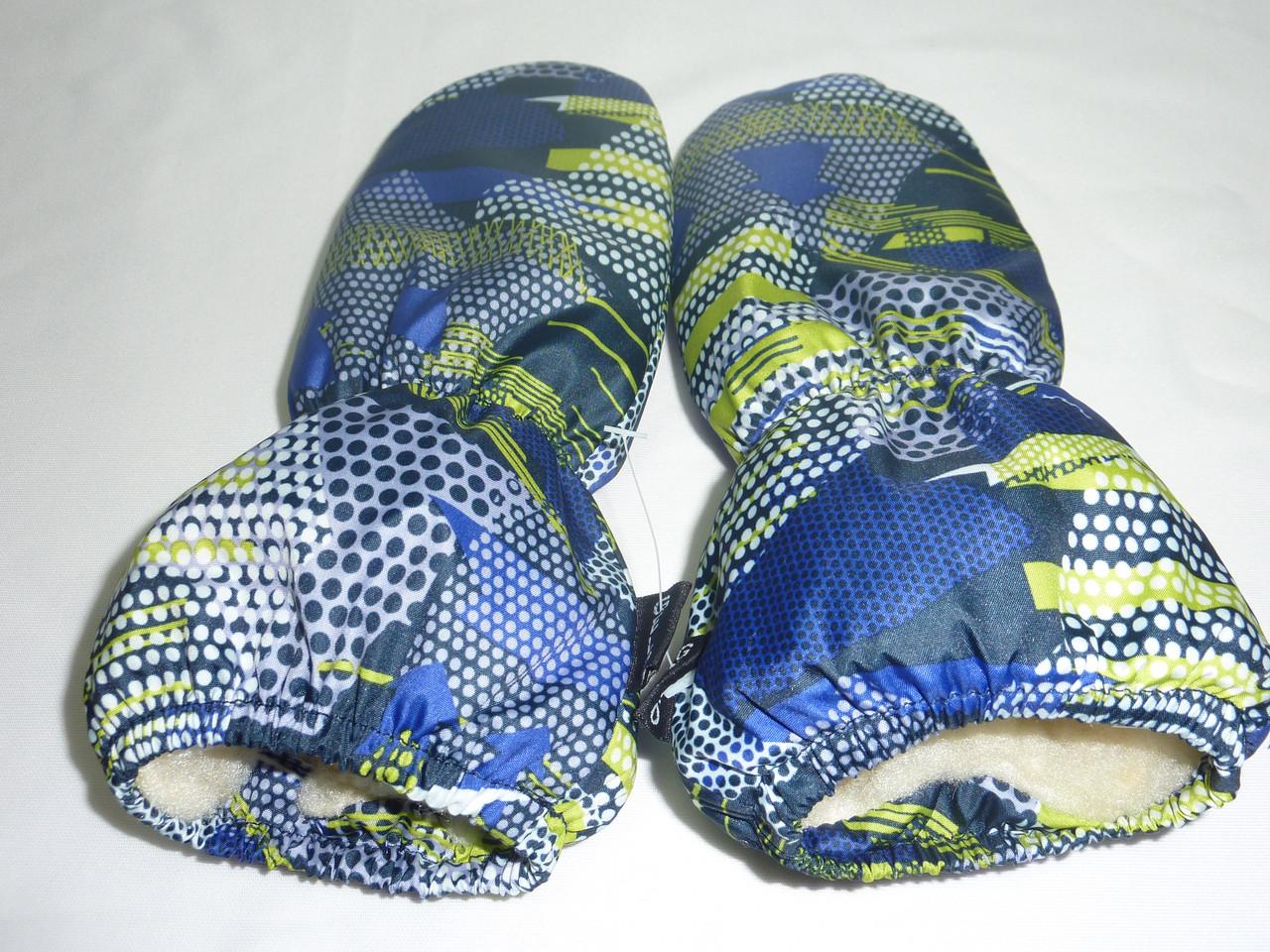 Меховые варежки для малышей синие скала