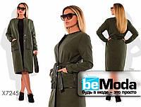 Стильное женское пальто больших размеров из кашемира с отделкой из экокожи зеленое