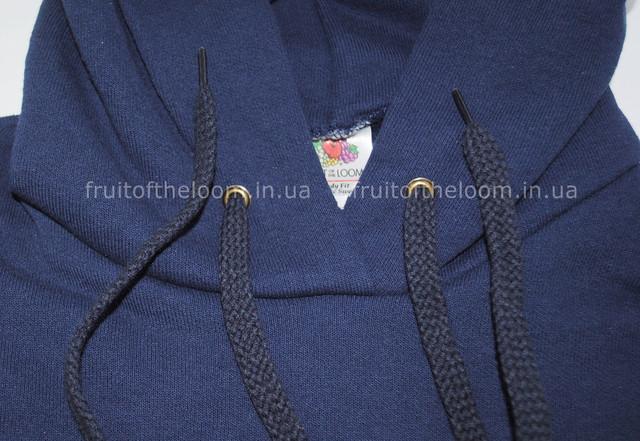 Тёмно-синяя  женская классическая толстовка с капюшоном