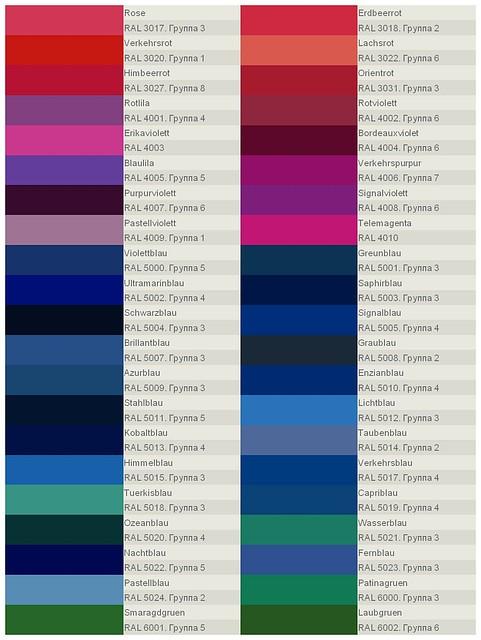 Каталог RAL для выбора цвета стекла и цвета рисунка. Страница 2