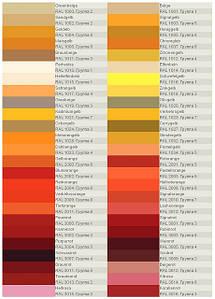 Каталог RAL для выбора цвета стекла и цвета рисунка. Страница 1