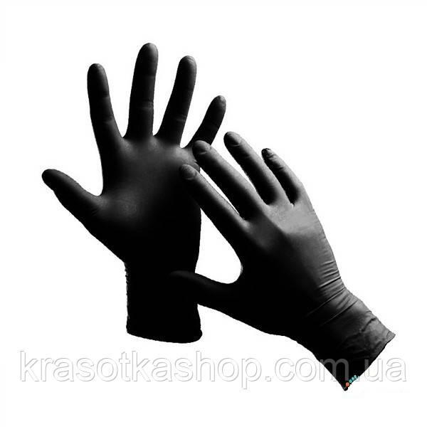Перчатки нитриловые неопудренные чёрные (S, M, L, XL) 100шт