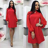 Платье №3515К (р-р.42,44,46).Ткань: костюмка+шифон. Цвета в ассортименте.