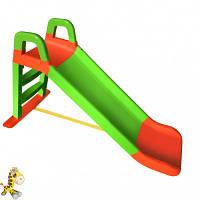 Детская горка для дачи и дома 140 см 0140 Долони оранжево-зеленая