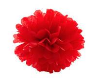 Бумажные помпоны Тишью 20 см, Красный